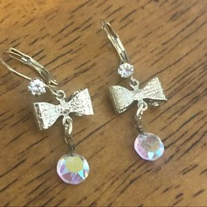Betsey Johnson Gold Bow and Jewel Dangle Earrings